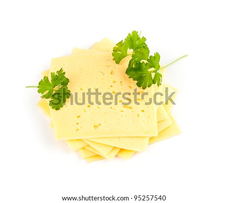 swiss cheese slices on white background. - stock photo