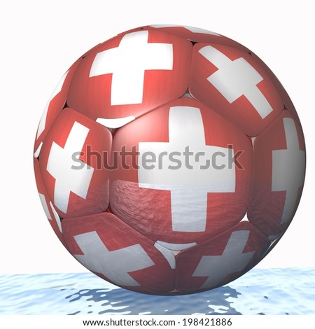 swiss 3d soccer ball - stock photo