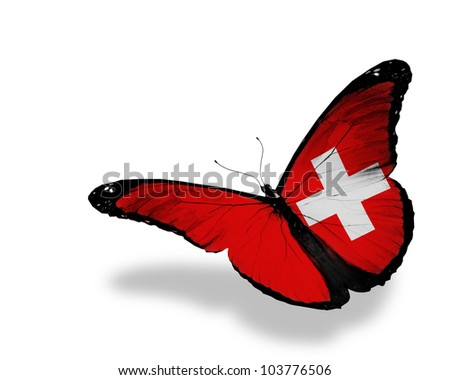 Swiss flag butterfly flying, isolated on white background - stock photo
