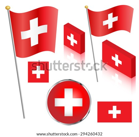 Swiss flag on a pole. Traditional square, and non-traditional rectangular badge and isometric designs illustration.  - stock photo