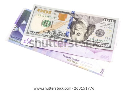 Swiss Franc,American dollars and Euro isolated - stock photo