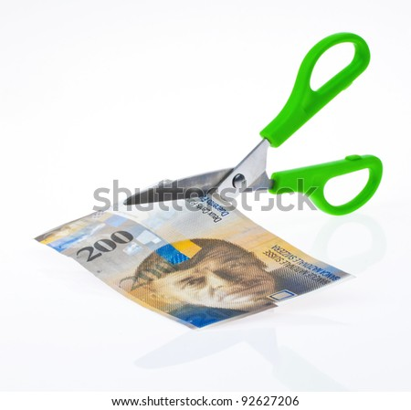 swiss franc banknotes. currency of switzerland. white background - stock photo