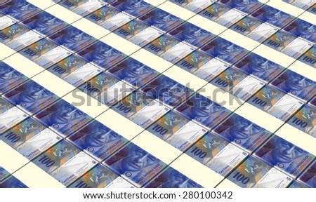 Swiss franc bills stacks background. - stock photo