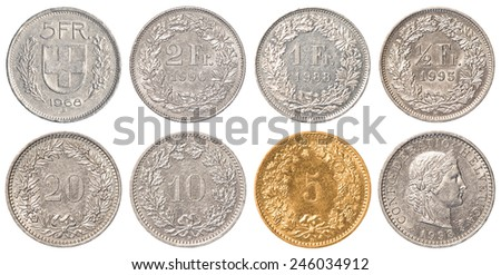 Swiss Franc coins collection set isolated on white background - stock photo