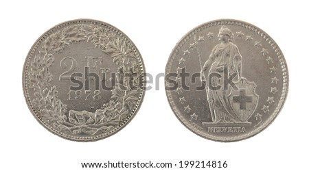 Swiss Franc coins isolated on white - stock photo
