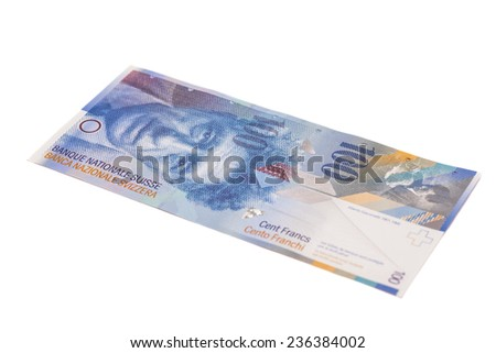 Swiss Franc note, isolated
