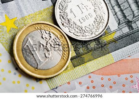 Swiss Franc versus Euro - stock photo