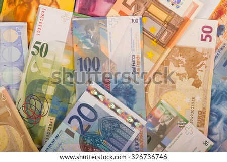 Swiss francs and Euro banknotes variety