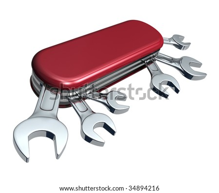 Swiss knife with spanners - stock photo
