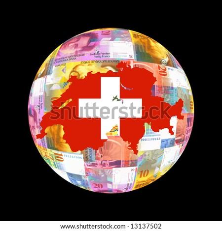 Swiss map flag on currency globe illustration - stock photo