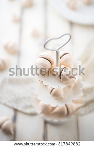 Swiss merengue with chocolate cream - stock photo