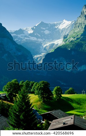 Swiss mountains - Bernese Alps, Switzerland - snow capped mountains and deep valleys, stunning view, breathtaking panorama