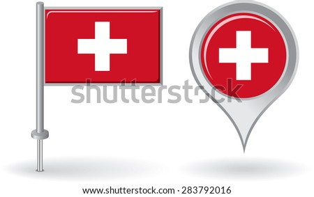Swiss pin icon and map pointer flag. Raster version - stock photo