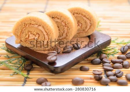 Swiss roll coffee - stock photo