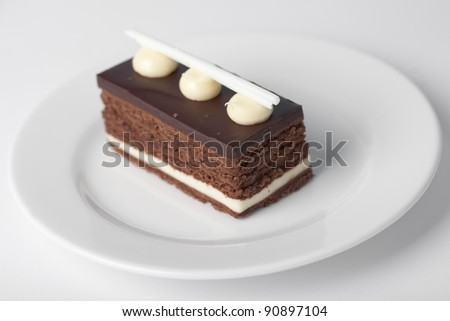 Swiss roll on the dish - stock photo