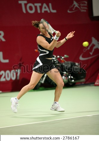 Swiss tennis player Martina Hingis at the Qatar Total Open, February 28, 2006.