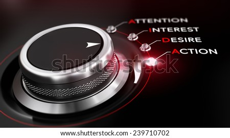 Switch button positioned on the word action, black background and red light. Conceptual image for illustration of Marketing AIDA. - stock photo