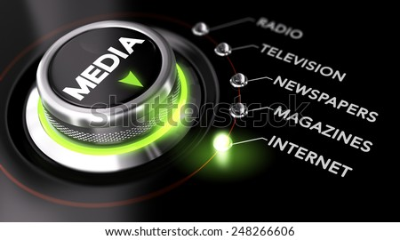 Switch button positioned on the word internet, black background and green light. Conceptual image for illustration of Marketing Advertising Campaign and communication strategy - stock photo