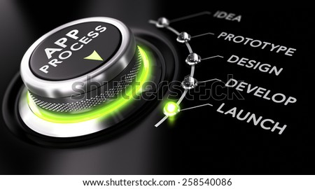 Switch button with green light, black background. Conceptual image for illustration of app development process. - stock photo