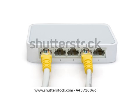 Switch Internet for up to five computers, isolated on white