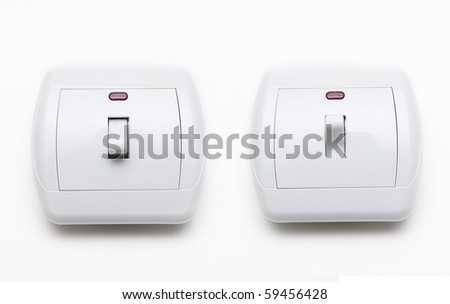 Switch ON and OFF isolated on white - stock photo