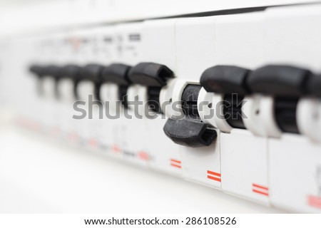switched off fuse in  electrical box,  short circuit - stock photo