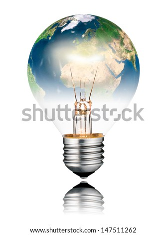 Switched ON Lightbulb in the Shape of the  World - Europe, Africa and Asia. Screw Round Bulb with Reflection Isolated on White Background - stock photo