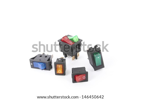 switches, colorful service switch electronic part - stock photo