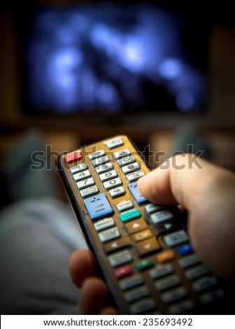 Switching TV channels - stock photo
