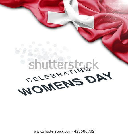 Switzerland Abstract waving Flag and Plain background with Typography Celebrating Women Day 8th March