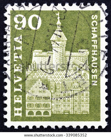 "SWITZERLAND - CIRCA 1960: A stamp printed in Switzerland from the ""Architectural Monuments 1st series"" issue shows Munot Fort, Schaffhausen, circa 1960."