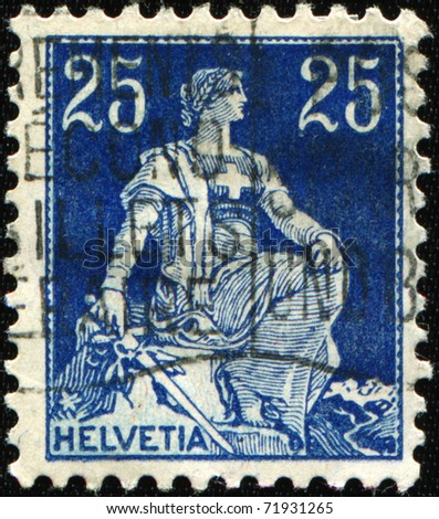 SWITZERLAND - CIRCA 1922: A stamp printed in Switzerland shows Helvetia is the female national personification of Switzerland, circa 1922