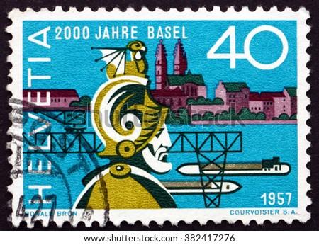 SWITZERLAND - CIRCA 1957: a stamp printed in Switzerland shows Munatius Plancus, Founder of Basel, 2000th Anniversary of Basel, circa 1957 - stock photo