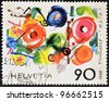 """SWITZERLAND - CIRCA 1988: A stamp printed in Switzerland shows the play """"meta"""" by Tinguely, circa 1988 - stock photo"""