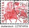 SWITZERLAND - CIRCA 1977: A stamp printed in the Switzerland shows Horse race, Zurich, series Folk Customs, circa 1977 - stock photo