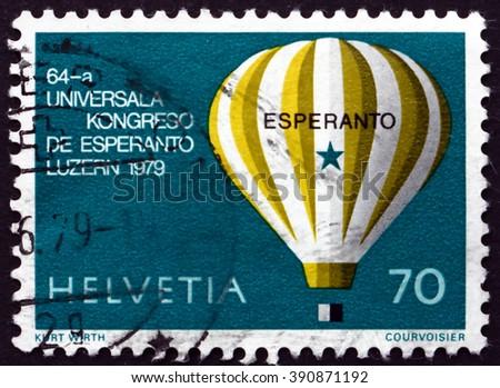 SWITZERLAND - CIRCA 1979: a stamp printed in the Switzerland shows Hot Air Balloon, World Esperanto Congress, Lucerne, circa 1979 - stock photo