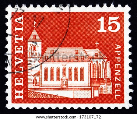 SWITZERLAND - CIRCA 1968: a stamp printed in the Switzerland shows St. Mauritius Church, Appenzell, circa 1968 - stock photo