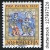 SWITZERLAND - CIRCA 1967: stamp printed by Switzerland, shows Adoration of the Magi, circa 1967 - stock photo