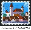 SWITZERLAND - CIRCA 1979: stamp printed by Switzerland, shows castle Rapperswil, circa 1979. - stock photo