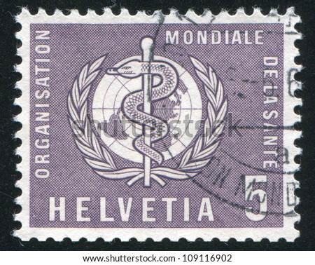 SWITZERLAND - CIRCA 1957: stamp printed by Switzerland, shows WHO Emblem, circa 1957