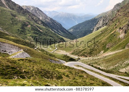 Switzerland. Famous road to Stelvio Pass and Umbrail Pass in Ortler Alps. Alpine landscape. - stock photo