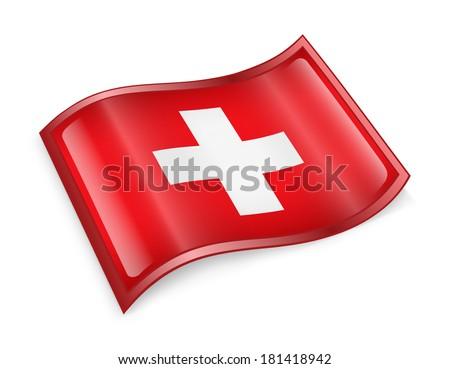 Switzerland Flag icon, isolated on white background. - stock photo
