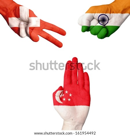 Switzerland India Singapore rock-paper-scissors