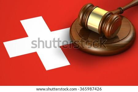Switzerland law, code, legal system and justice concept with a 3d render of a gavel on the Swiss flag on background. - stock photo