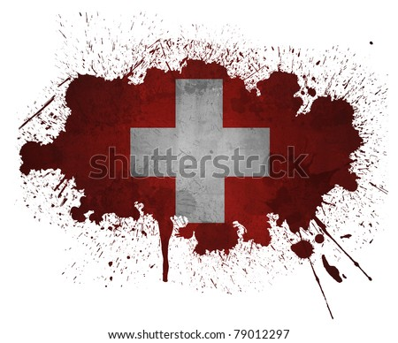 Switzerland paint splatter flag - stock photo