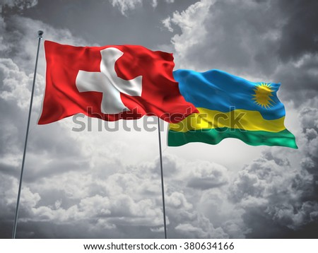 Switzerland & Rwanda Flags are waving in the sky with dark clouds
