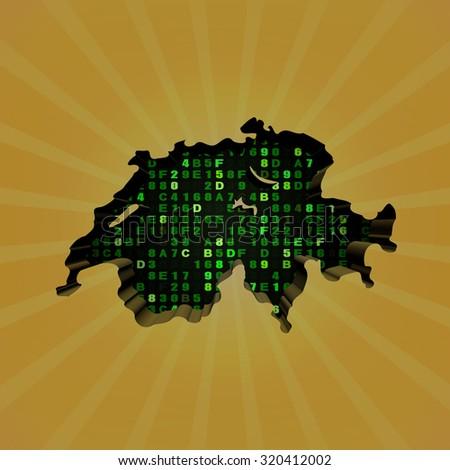 Switzerland sunburst map with hex code illustration - stock photo