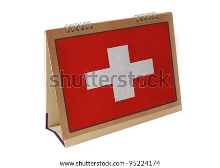 Switzerland table flag isolated - stock photo
