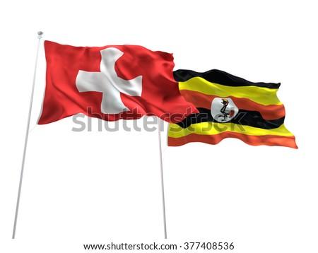 Switzerland & Uganda Flags are waving on the isolated white background - stock photo
