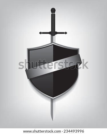 Sword and black shield - stock photo
